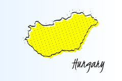 Map of Hungary, halftone abstract background. drawn border line and yellow color. Map of Hungary, halftone abstract background. The black dots on a yellow stock illustration