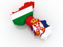 Map of Hungary and Serbia. Stock Photo