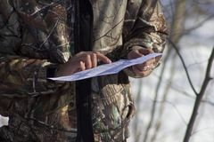 Map. Hunter scouting map for a route Royalty Free Stock Image