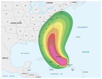 Map for a Hurricane warning in the Caribbean and the Eastern usa.  Royalty Free Stock Photography