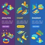 Map i wykresów sztandaru Vecrtical Ustalony 3d Isometric widok wektor Ilustracja Wektor
