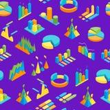 Map i wykresów tła 3d Bezszwowy Deseniowy Isometric widok wektor ilustracja wektor