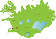 Map of Iceland. Iceland map designed in illustration with provinces colored in green colors and with the main cities. Neighbouring countries  are in an Stock Image