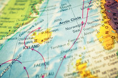 Map of Iceland. Close-up image Stock Images