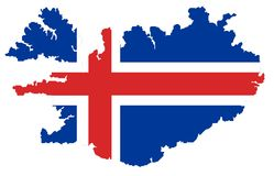 Map of Iceland with flag Royalty Free Stock Image