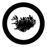 Map of Iceland icon black color vector in circle round illustration flat style image. Map of Iceland icon black color vector in circle round illustration flat stock illustration