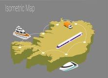 Map Iceland isometric concept. Stock Photo