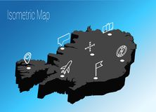 Map Iceland isometric concept. Royalty Free Stock Images