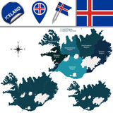 Map of Iceland with Named Regions Royalty Free Stock Photo