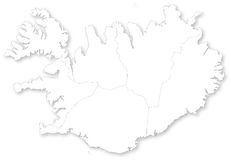 Map of Iceland with regions. Map of Iceland with regions with shadow.  Projected in WGS 84 World Mercator (EPSG:3395) coordinate system Stock Photography