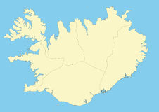 Map of Iceland. And their regions. File easy to edit and apply. Elements of this image furnished by NASA Royalty Free Stock Image