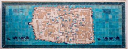 Map of Ichon-Qala, in Khiva, Uzbekistan Royalty Free Stock Photo