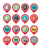 Map icon - car service, hotel, hospital, restaurant, wi-fi. Stock Images