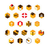 Map icon in the form of honeycombs. Vector map icon in the form of honeycombs Royalty Free Stock Images