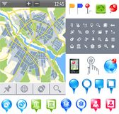 Map-icon-gps. City map and gps icons and pushpins Stock Image