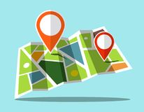 Map Icon with Markers. Simple Web Icons Royalty Free Stock Photography