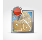 Map icon with Pin Pointer illustration design Royalty Free Stock Photos