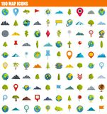 100 map icon set, flat style. 100 map icon set. Flat set of 100 map icons for web design vector illustration