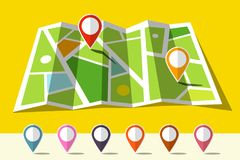 Map Icon with Set of Markers. Vector Flat Design Illustration Royalty Free Stock Photo