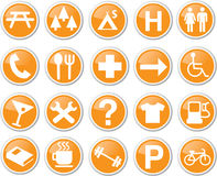 Map icon set orange Royalty Free Stock Images