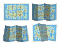 Map icon. Unspecified map with land and sea Stock Photo