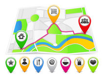 Map with Icons Royalty Free Stock Image