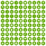 100 map icons hexagon green. 100 map icons set in green hexagon isolated vector illustration Royalty Free Stock Images