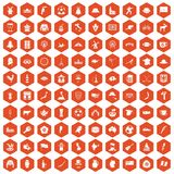 100 map icons hexagon orange. 100 map icons set in orange hexagon isolated vector illustration Stock Illustration