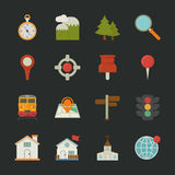 Map icons and location icons , flat design Stock Photo