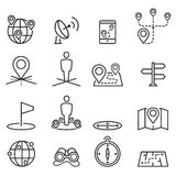 Map icons and location on terrain Stock Photography
