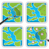 Map icons and magnifying glass Royalty Free Stock Photos