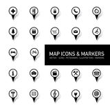 Map icons and markers Stock Photo