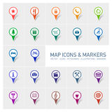 Map icons and markers Stock Image
