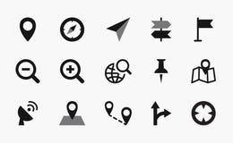 Map icons, mono vector symbols. Geolocation icons map, mono vector symbols Royalty Free Stock Image