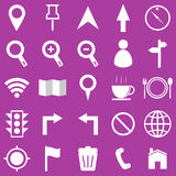 Map icons on purple background Stock Photo