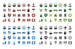 Map icons set royalty free illustration