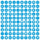 100 map icons set blue. 100 map icons set in blue hexagon isolated vector illustration Royalty Free Stock Photos