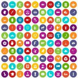 100 map icons set color. 100 map icons set in different colors circle isolated vector illustration stock illustration
