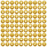 100 map icons set gold. 100 map icons set in gold circle isolated on white vector illustration Stock Photography
