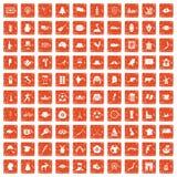 100 map icons set grunge orange. 100 map icons set in grunge style orange color isolated on white background vector illustration Royalty Free Illustration