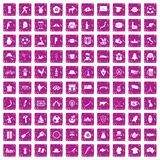 100 map icons set grunge pink. 100 map icons set in grunge style pink color isolated on white background vector illustration Stock Photos