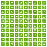 100 map icons set grunge green. 100 map icons set in grunge style green color isolated on white background vector illustration royalty free illustration
