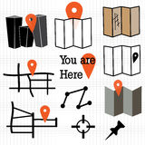 Map icons Royalty Free Stock Photos