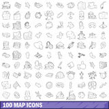 100 map icons set, outline style Stock Photos