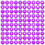 100 map icons set purple. 100 map icons set in purple circle isolated on white vector illustration Stock Illustration