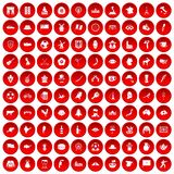 100 map icons set red. 100 map icons set in red circle isolated on white vector illustration Royalty Free Stock Images
