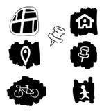 Map icons set Stock Photos
