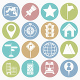 Map icons set Royalty Free Stock Photos
