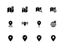 Map icons on white background. GPS and Navigation. Royalty Free Stock Image