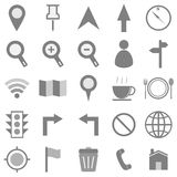 Map icons on white background Stock Photo